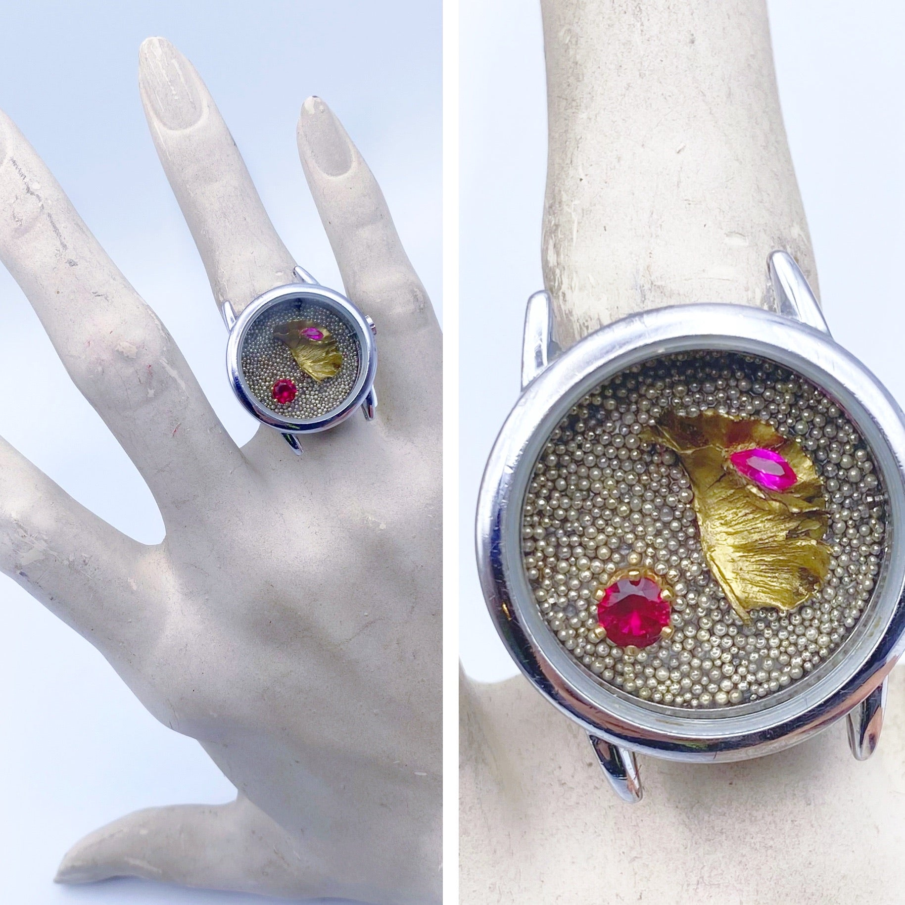 Venus Flytrap with Rubies Ring