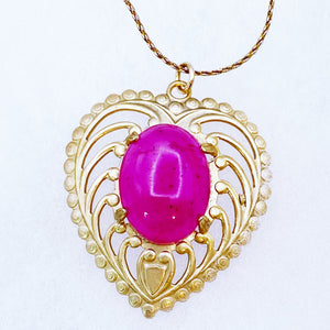 Pink Jade Heart Necklace