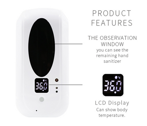Automatic Hand Sanitizer Dispenser, Infrared Body Thermometer with Temperature Alarm, 1200 ml, for Commercial Industrial Public Areas