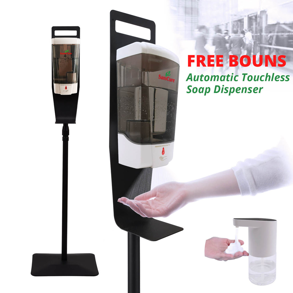 SaniCure series Touchless Hand Sanitizer Dispenser, 1000 ml Container, with Durable Floor Stand and Drip Tray
