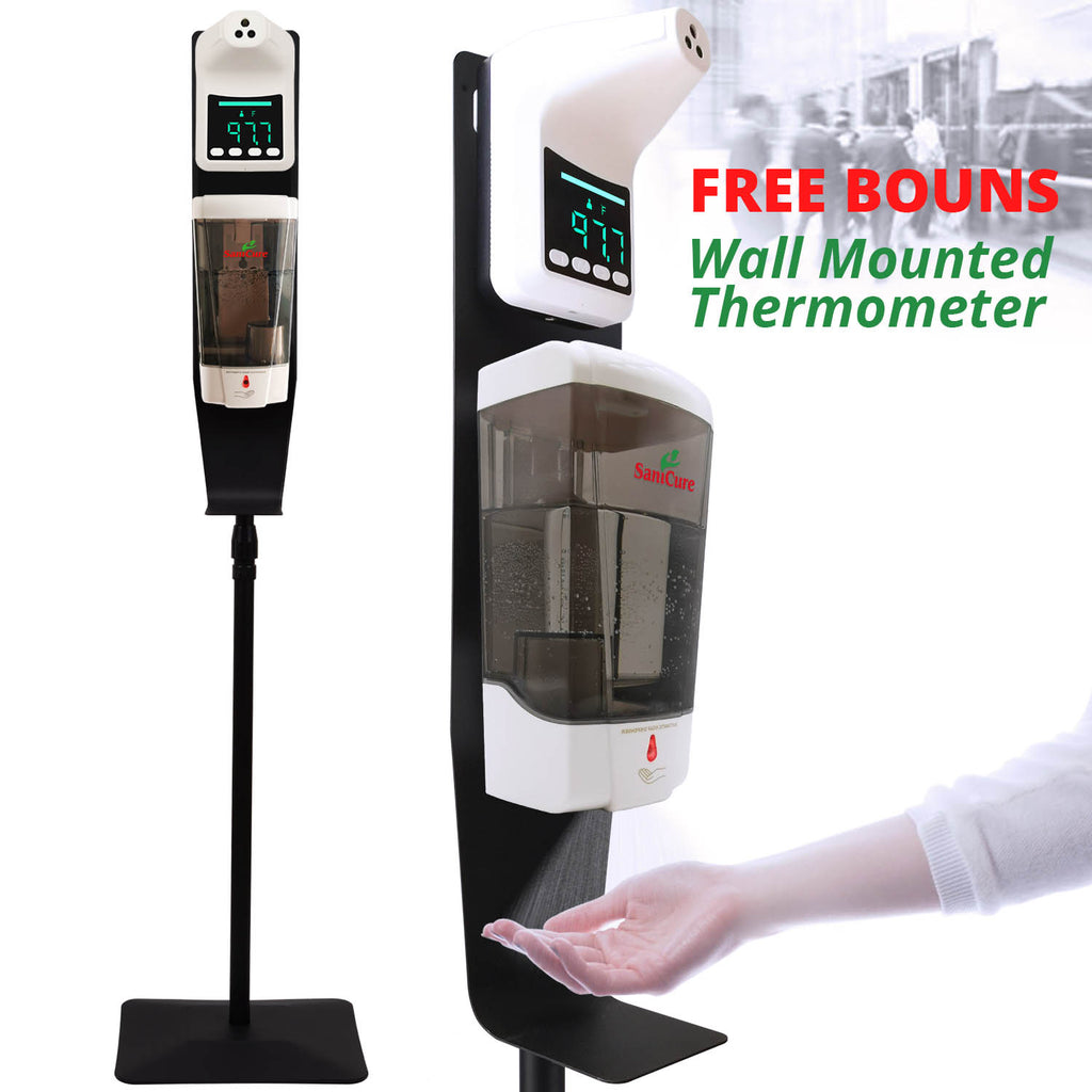 SaniCure series Touchless Hand Sanitizer Dispenser, 1000 ml Container, with Durable Floor Stand and Drip Tray, and an PUBIC PLACE SELF-TESTING THERMOMETER