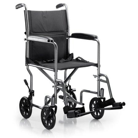 Lightweight Transport Chair McKesson Steel Frame with Silver Vein Finish 250 lbs. Weight Capacity Fixed Height / Padded Arm Black Upholstery.