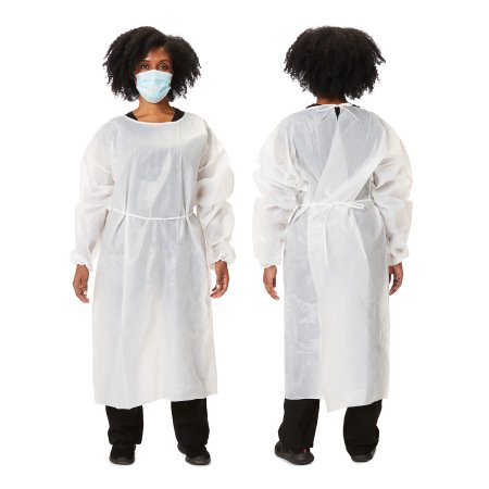 Protective Procedure Gown One Size Fits Most White NonSterile Disposable - Cypress