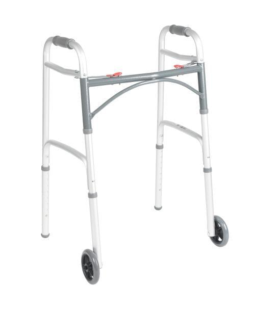 "Deluxe Folding Walker, Two Button with 5"" Wheels."