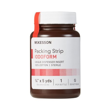 Wound Packing Strip McKesson Antiseptic Cotton Iodoform Small 1/4 Inch X 5 Yard 1 Count Sterile.
