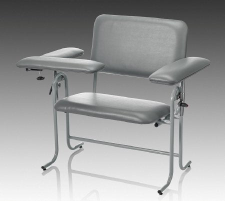 Blood Drawing Chair McKesson 1 Straight Arm / 1 Flip Up Arm Gray - McKesson