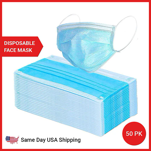 3 Ply Disposable Face Mask - 50 Pack Earloop Face Mask - Same Day USA Shipping