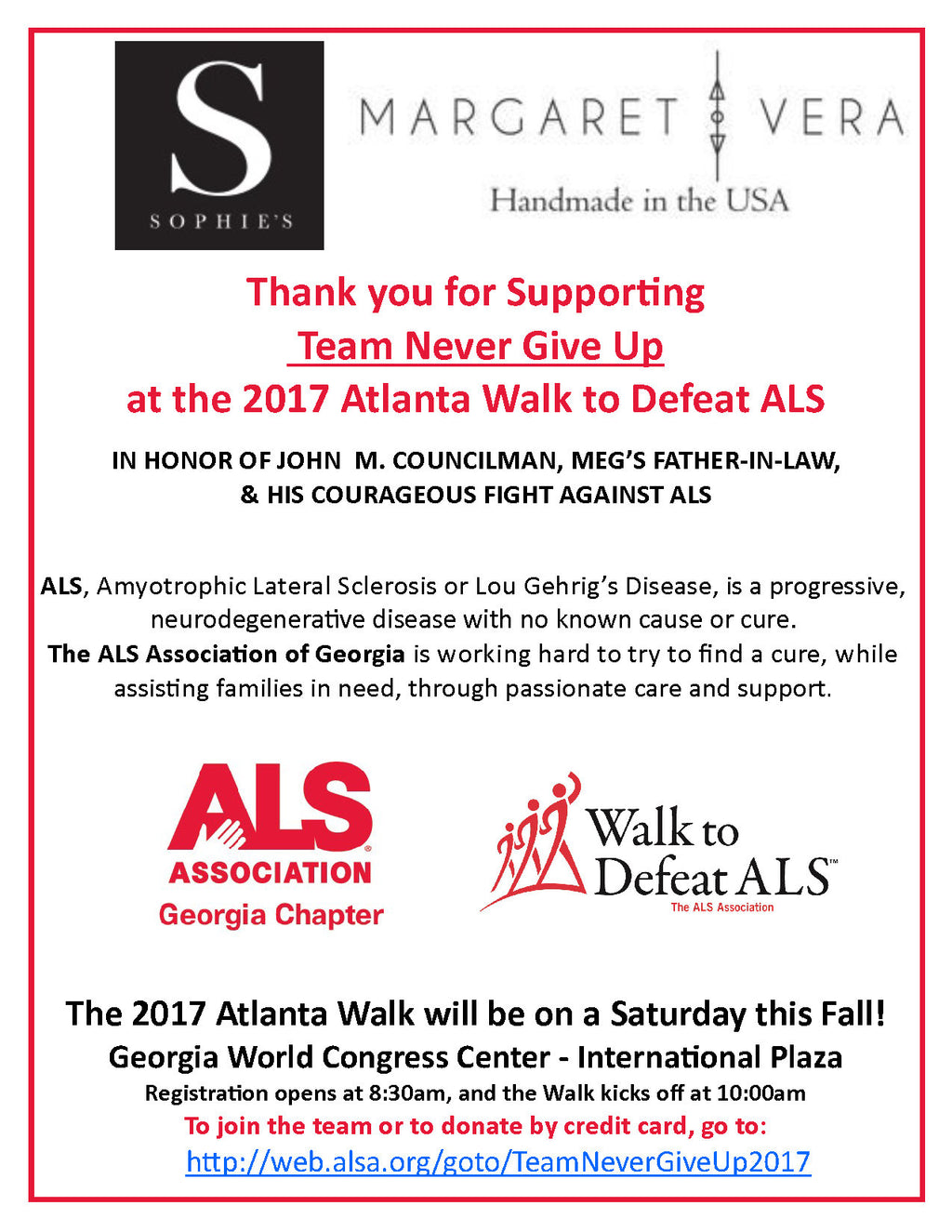 2017 Atlanta Walk to Defeat ALS-Want to Donate?