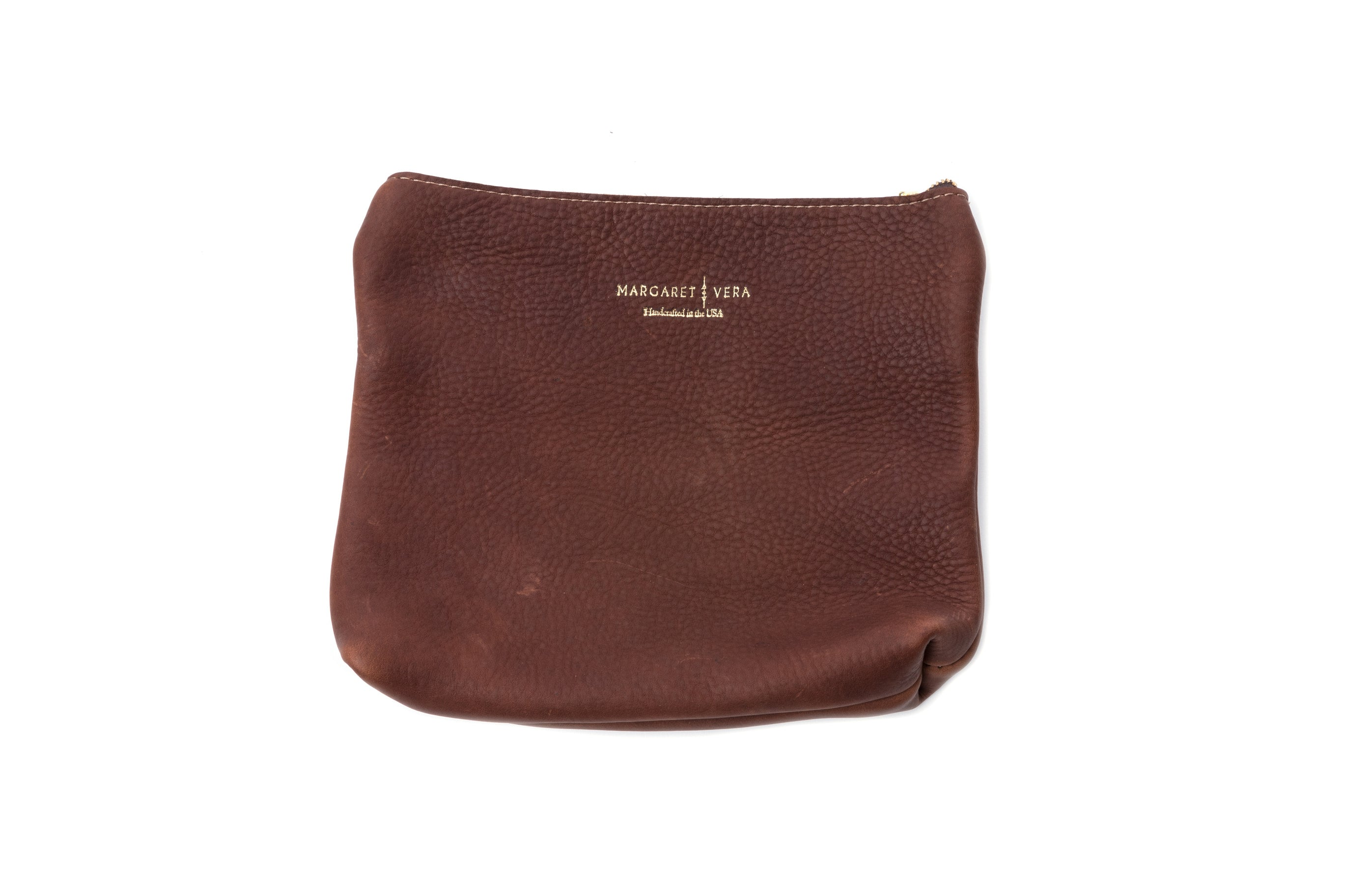 Zippered Leather Clutch