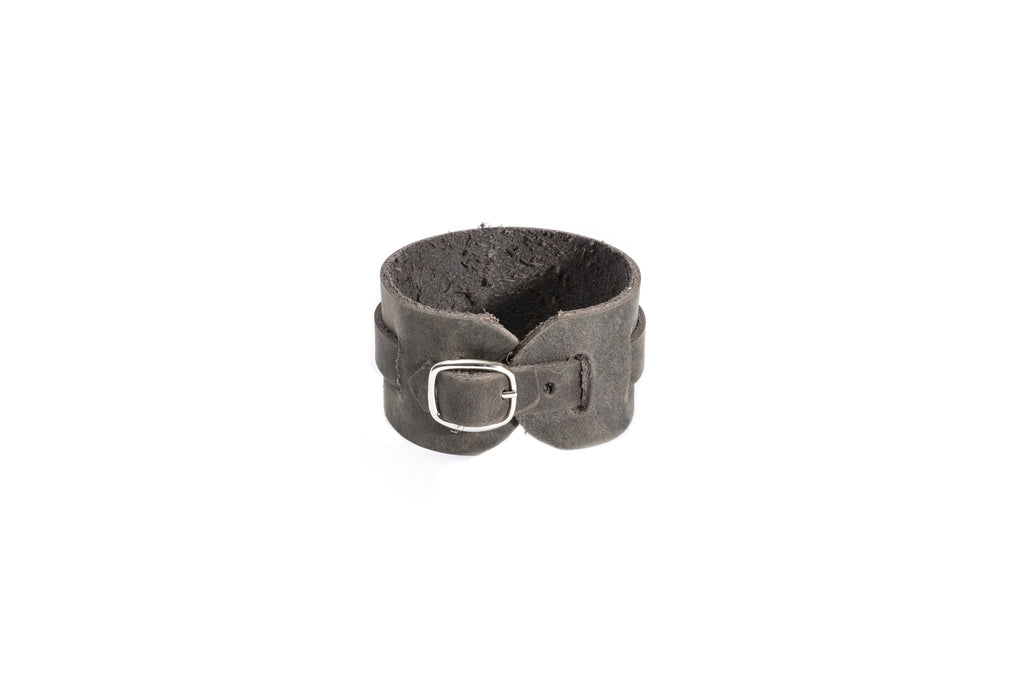 Grey Leather Buckle Bracelet