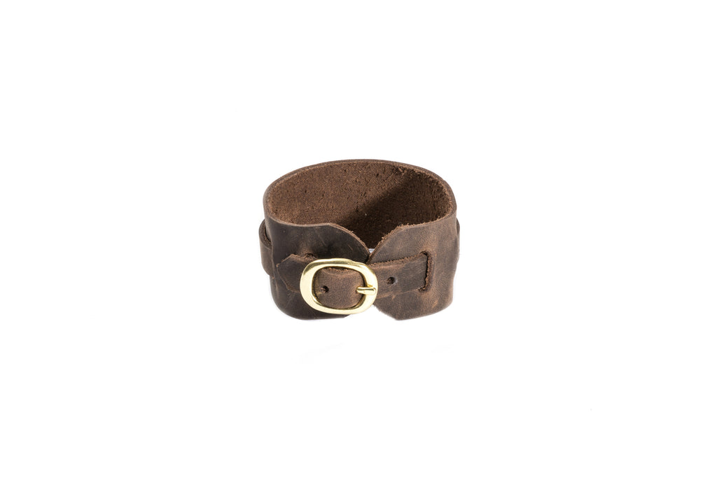 Brown Leather Buckle Cuff Bracelet