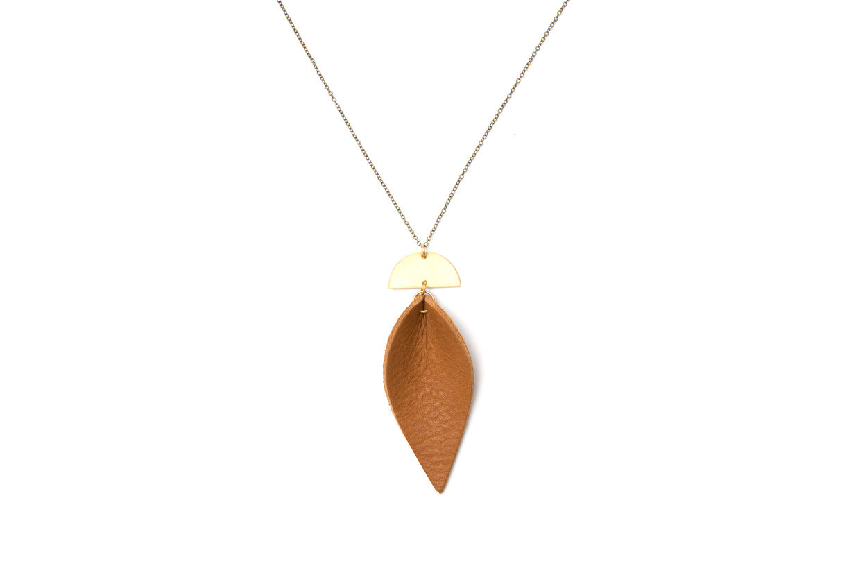 Leather and Brass Half Moon Leaf Necklace