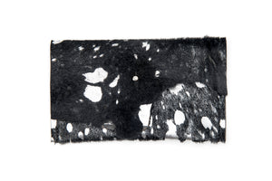 Wallet, Black Silver Washed Hair Hide Wallet