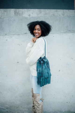 Fringe Bag, Leather Fringe Handbag, Shoulder Bag, Blue Purse
