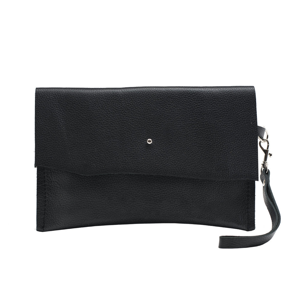 Black Leather Clutch, Wristlet Clutch, Zelda Clutch