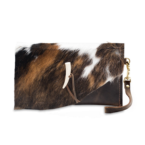 Moon Leather Clutch with Cow Hair Flap