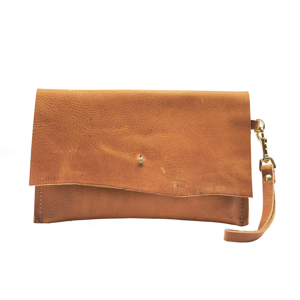 Summer Sunset Leather Wristlet Clutch