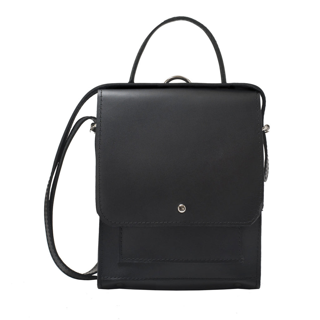 Mayfair Black Leather Convertible Backpack