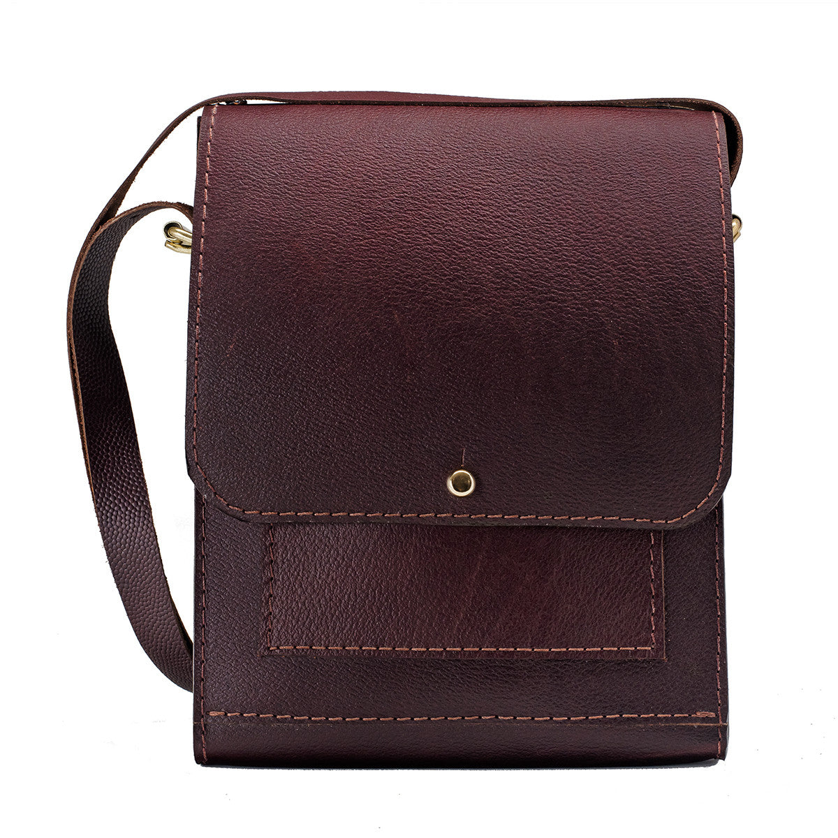 Leather Vertical Messenger Bag, Burgundy Brown