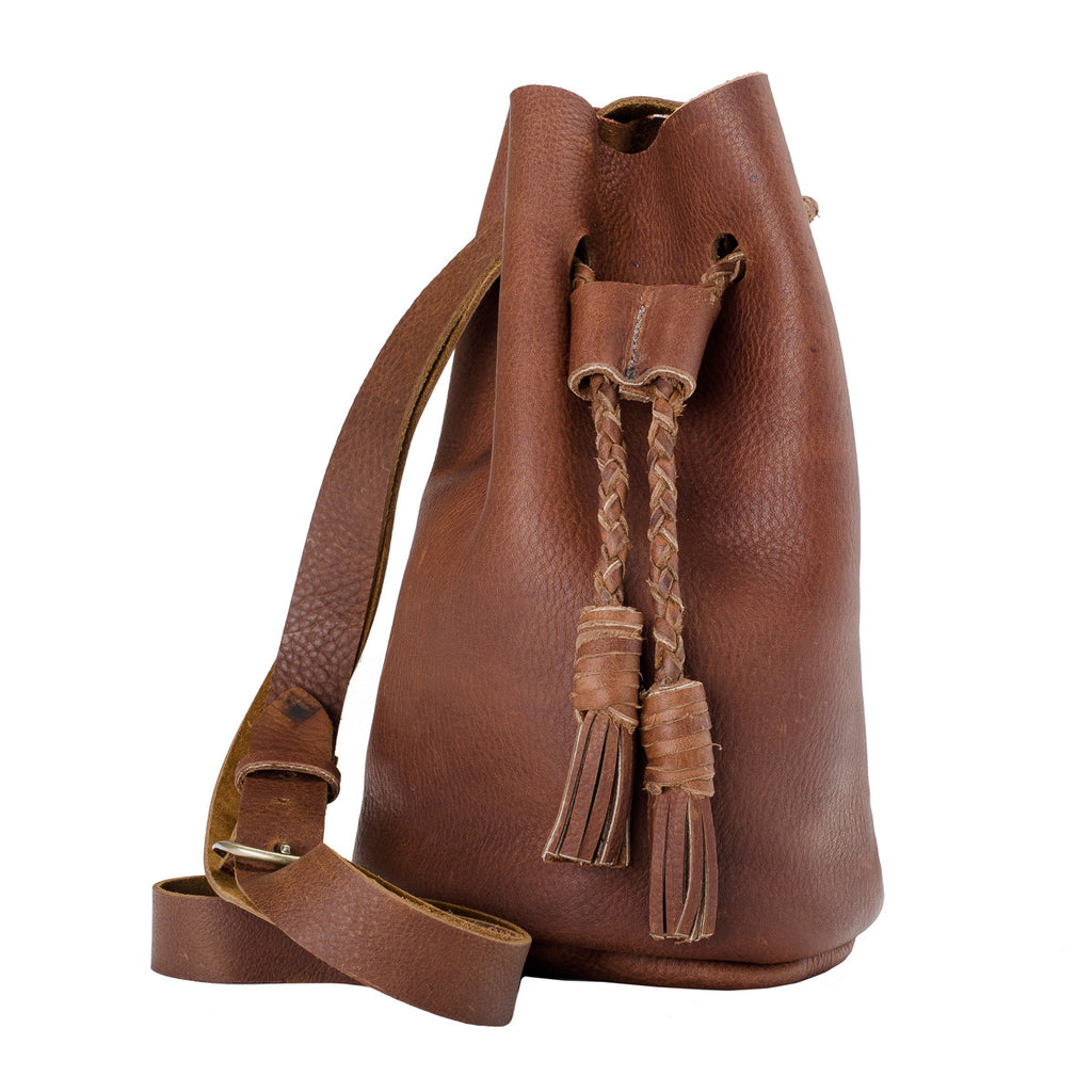Riley Copper Leather Bucket Bag