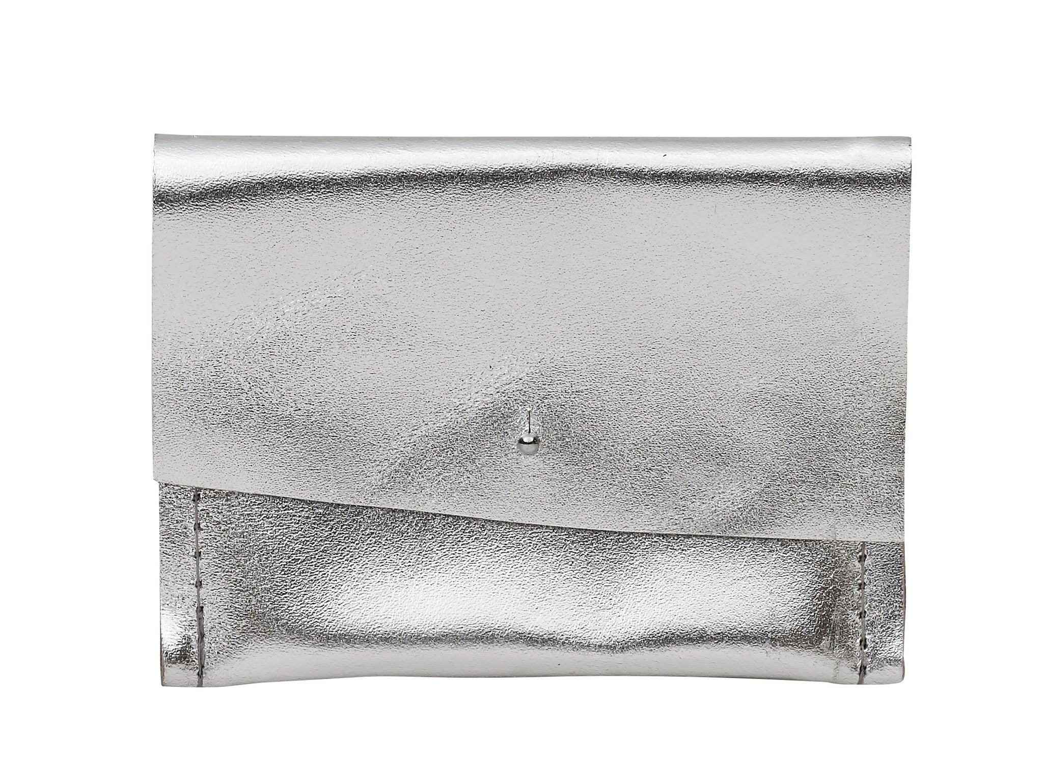 Silver Metallic Leather Wallet