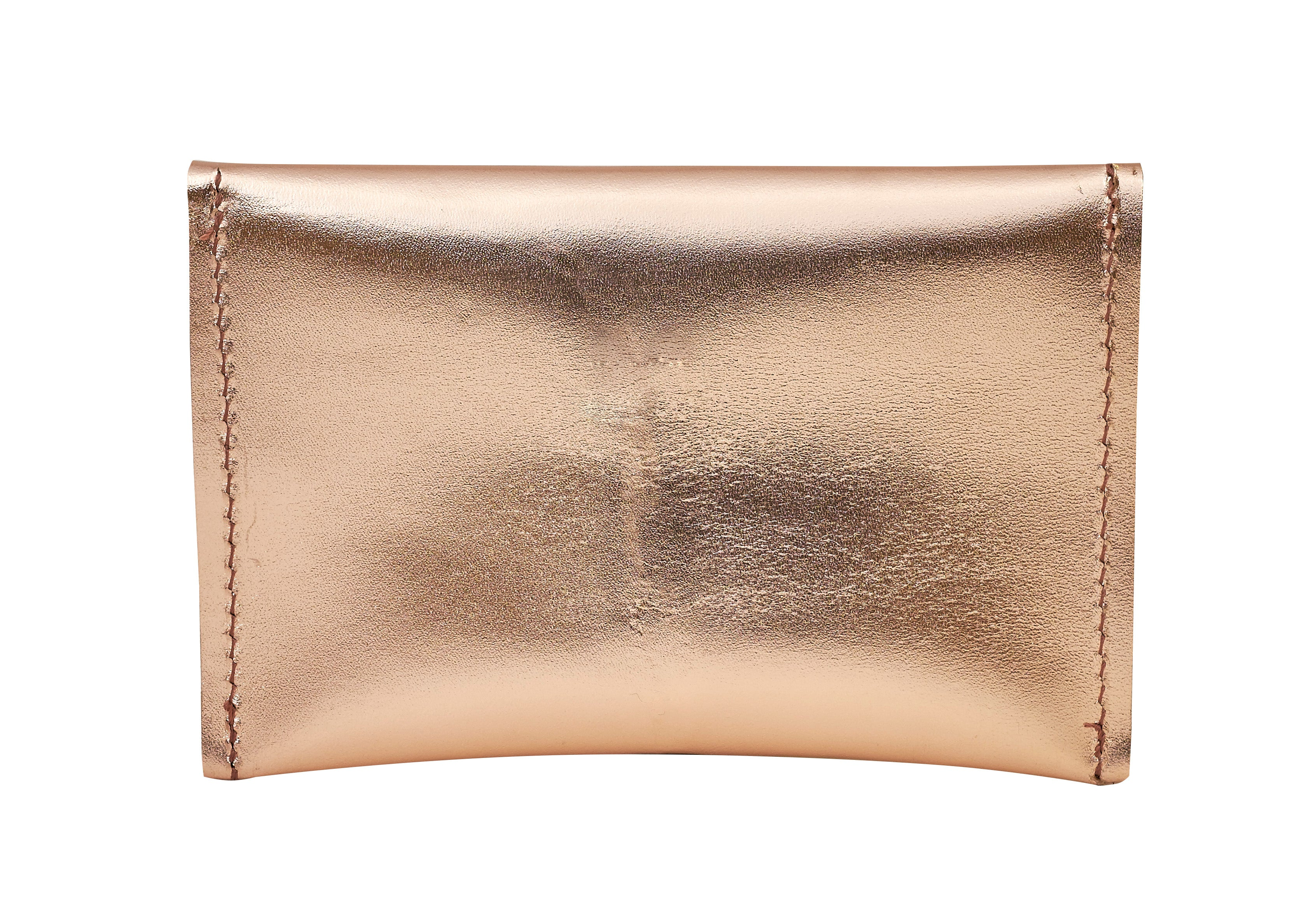 Rose Gold Metallic Leather Mini Wallet