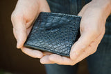 Genuine Alligator Bifold, Black Leather Bifold