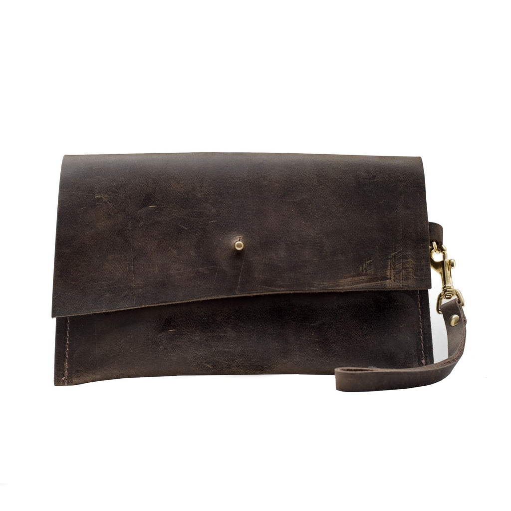 Brown Leather Wristlet Clutch, Lillian Clutch