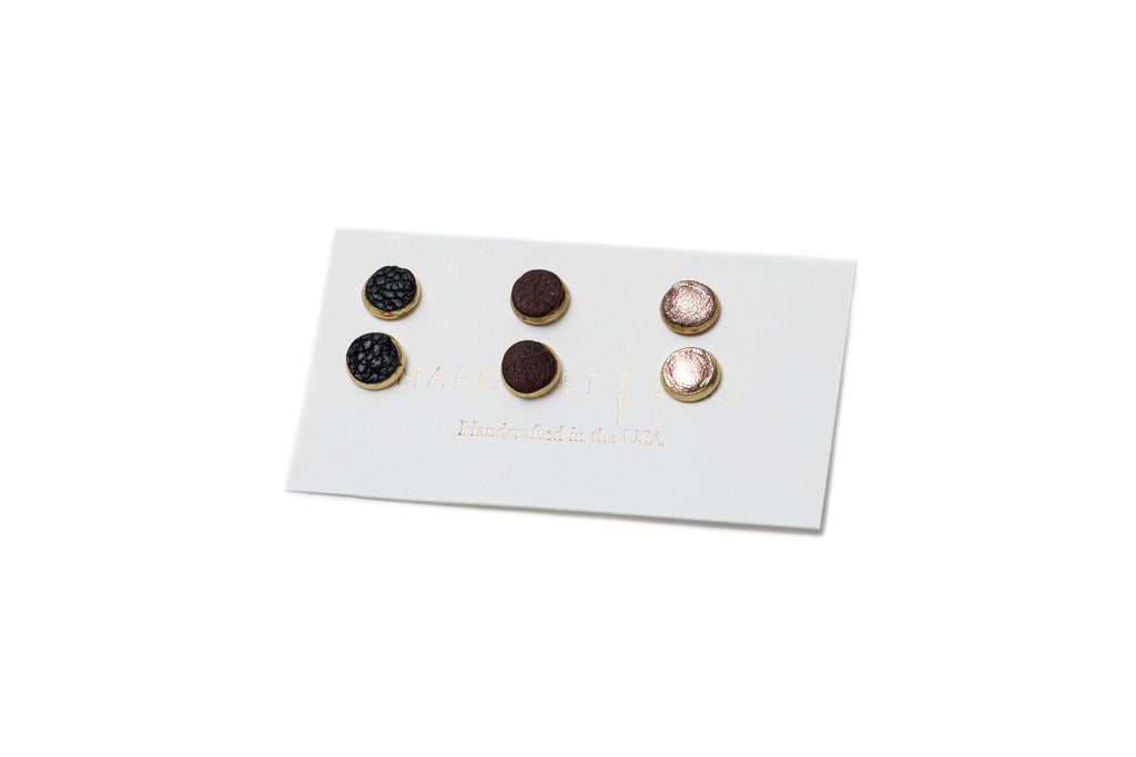 Leather Stud Earrings Mix Pack