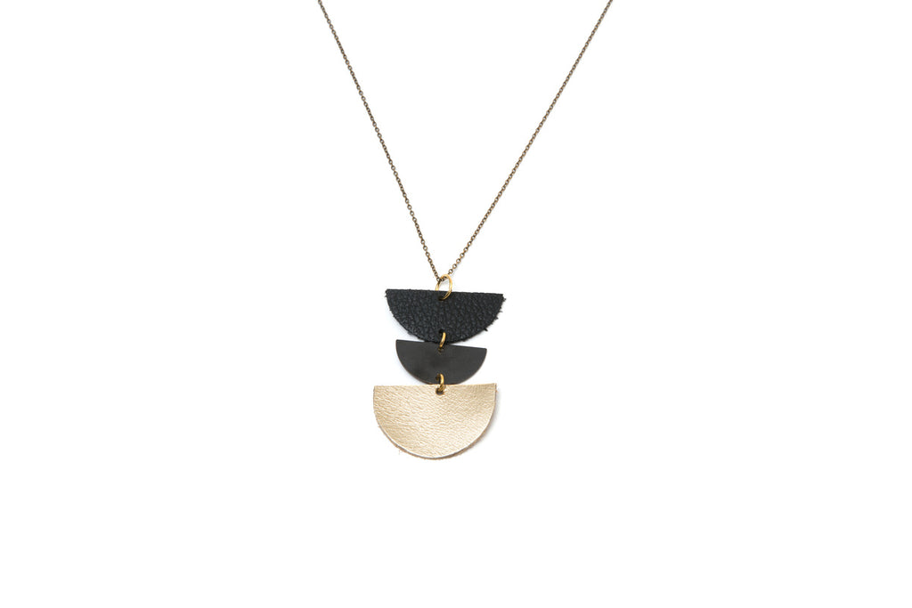 Triple Half Moon Leather and Brass Celestial Necklace
