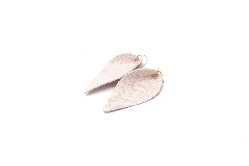 Leather Leaf Earrings, Pale Pink