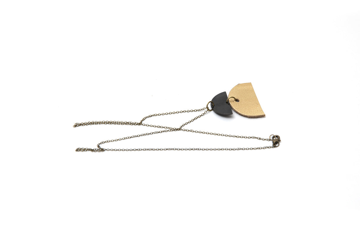 Double Half Moon with Golf and Brass Necklace