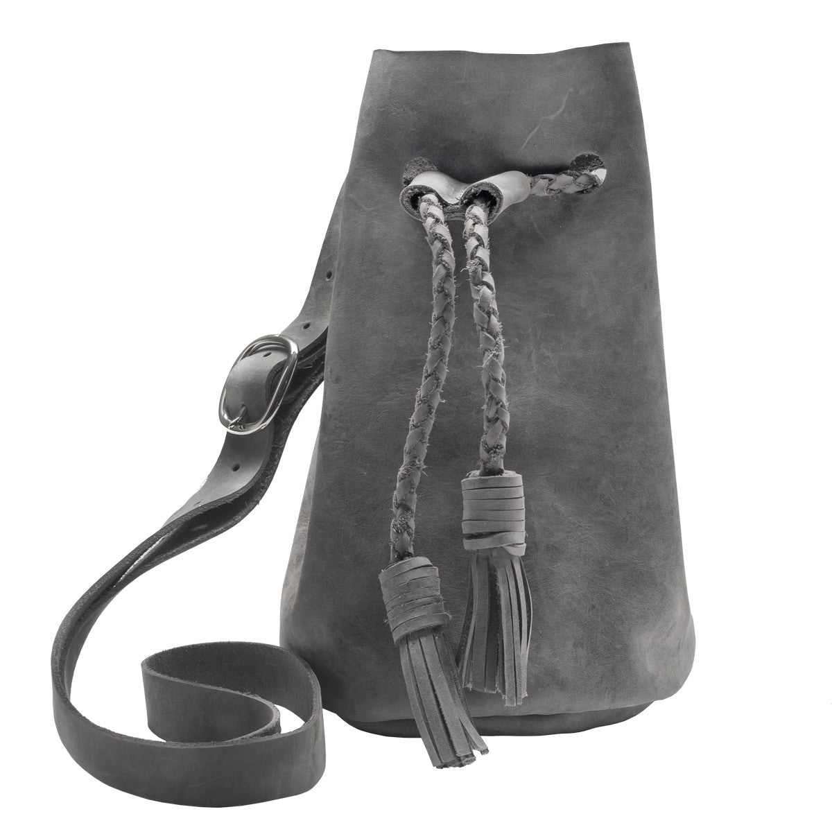 Kimberly Grey Leather Bucket Bag