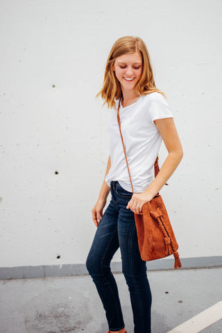 Suede Bucket Bag, Sandy Tan Shoulder Bag