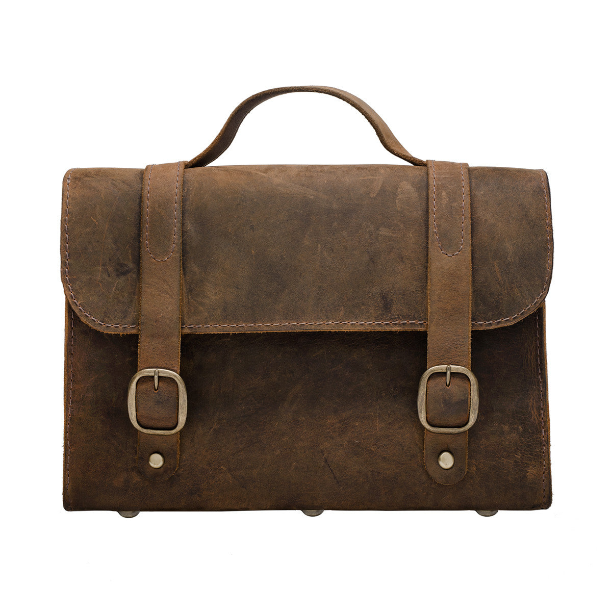 Leather Messenger Bag, Horizontal Brown Messenger