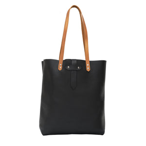 Black Leather Tote Bag, Caitlin Large Leather Purse