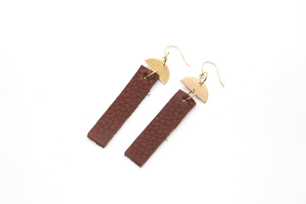 Leather Bar Half Moon Earrings