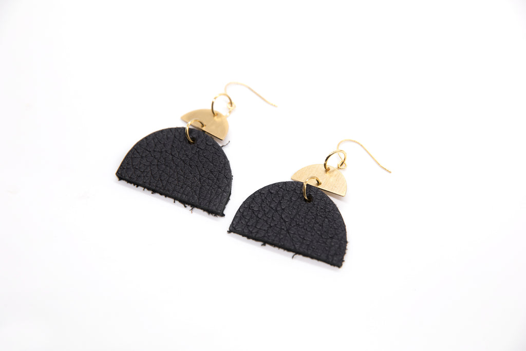 Black Half Moon Leather Earrings