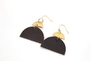 Half Moon Leather Earrings, Brown