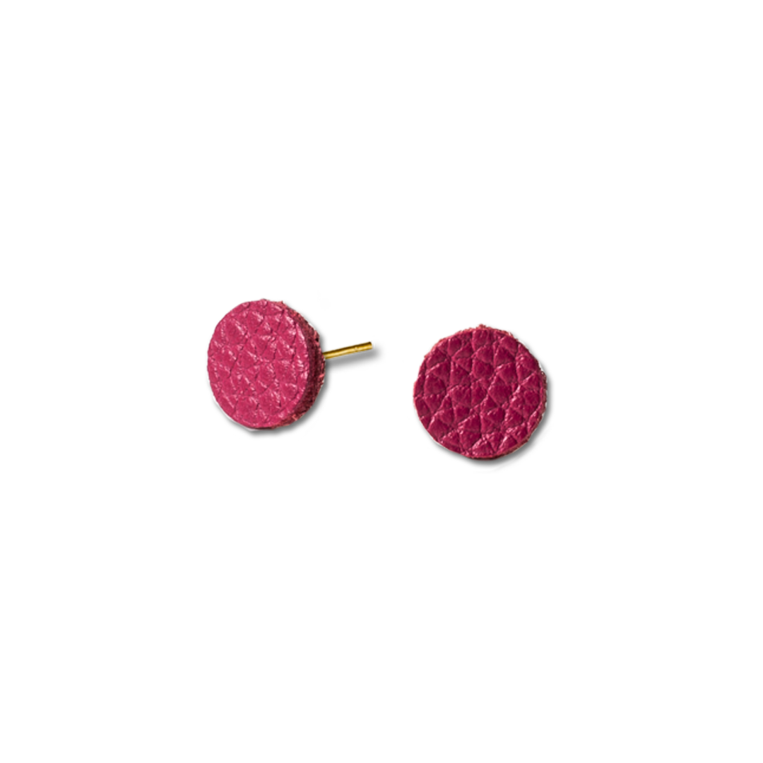 Leather Hot Pink Stud Earrings