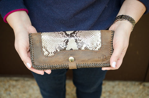 Python and Leather Wallet, Exotic Leather