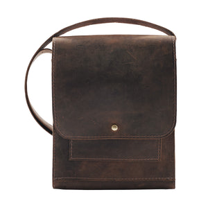 Leather Messenger Bag, Vertical Messenge, Distressed Brown