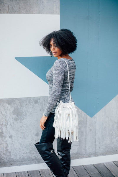 Leather Fringe Handbag, White Leather Fringe Purse