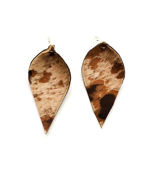 Leather Leaf Earrings, Acid Wash