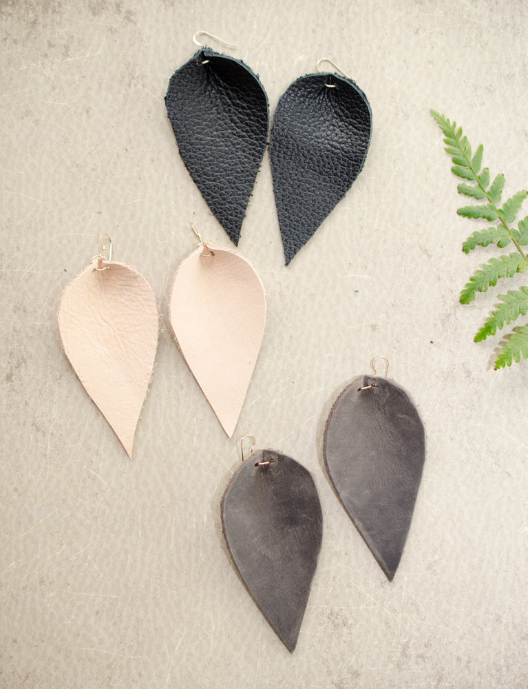Leather Earrings, Large Leather Leaf Earrings
