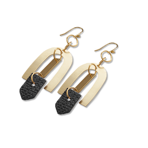 Geometric Brass + Black Leather Earrings