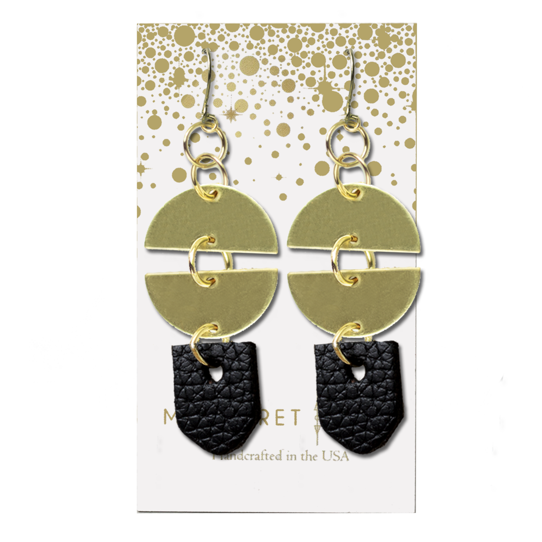 Full Moon Brass and Leather Drop Earrings