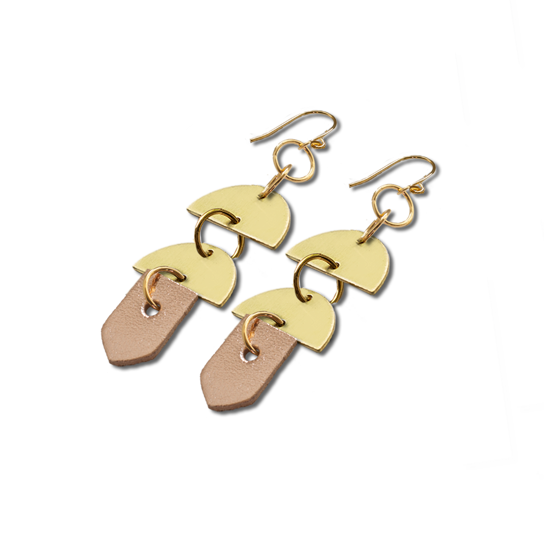 Half Moon Brass and Rose Gold Leather Earrings