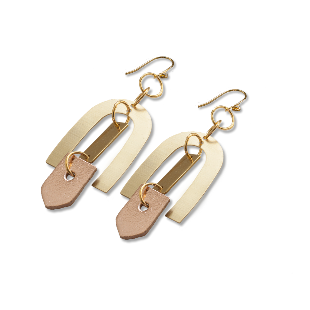 Geometric Brass + Rose Gold Leather Earrings