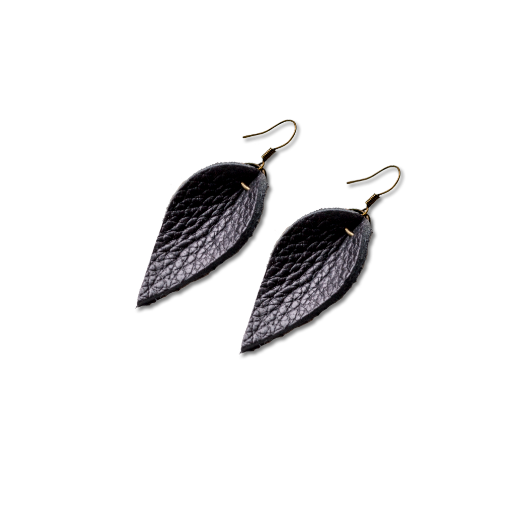 Black Leather Mini Leaf Earrings